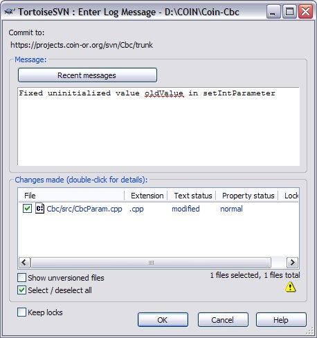 TortoiseSVN Commit Dialog
